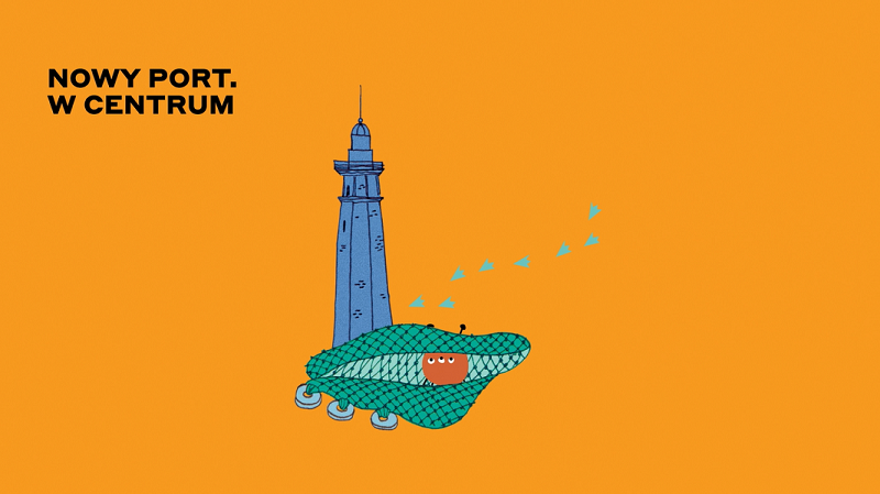 """Okładka książeczki pt. """"Nowy Port. W Centrum"""", autorstwa Aleksandry Kotarskiej. W centrum znajduje się latarnia morska. Pod latarnią umieszczona została sieć rybacka. W sieć został złapany pies Łaźniaka. Od latarni morskiej odchodzą kacze ślady stóp, kierując się w stronę prawego, górnego rogu. W lewym górnym rogu znajduje się czarny napis. To tytuł książeczki – Nowy Port. W Centrum. Wszystkie elementy grafiki znajdują się na pomarańczowym tle."""