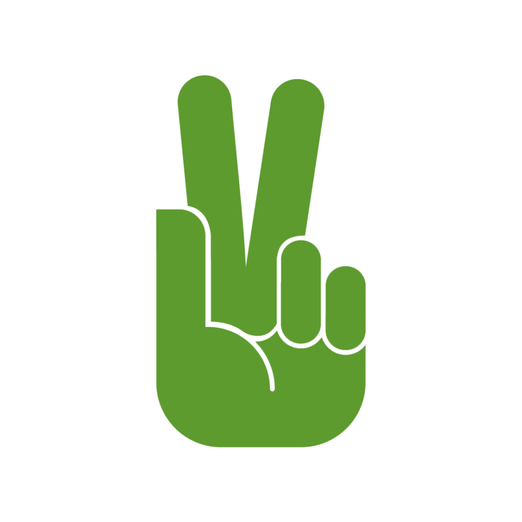 Logo festiwalu. Zielona łapka na białym tle, z dwoma palcami ułożonymi w literę