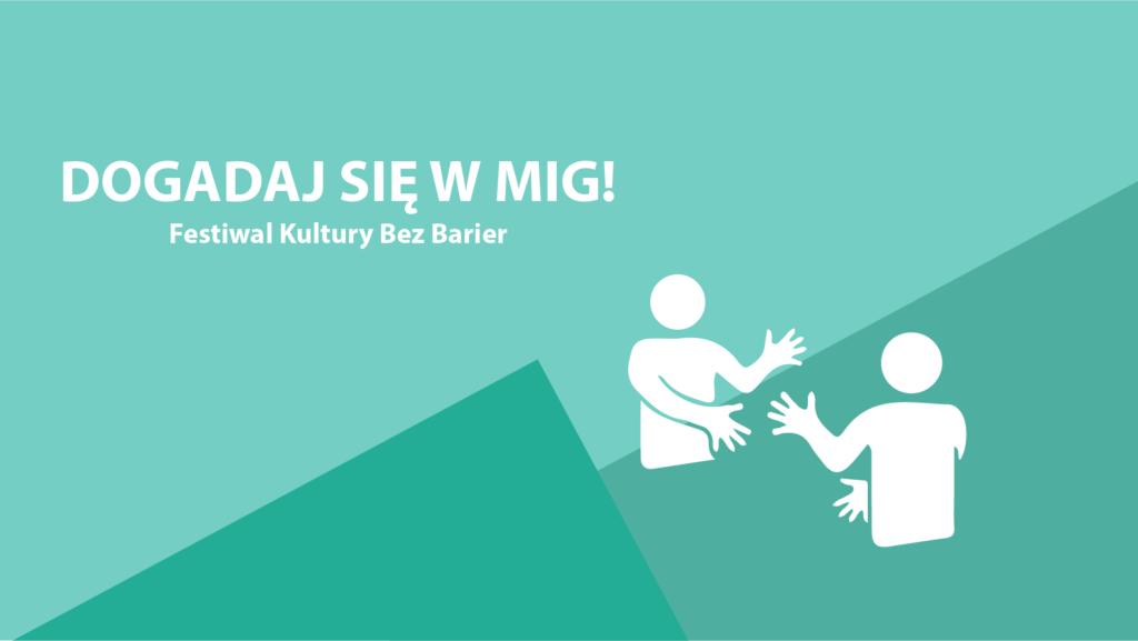 Grafika przedstawiająca dwie gestykulujące osoby. Rozmawiają w języku migowym. Na grafice jest tytuł wydarzenia