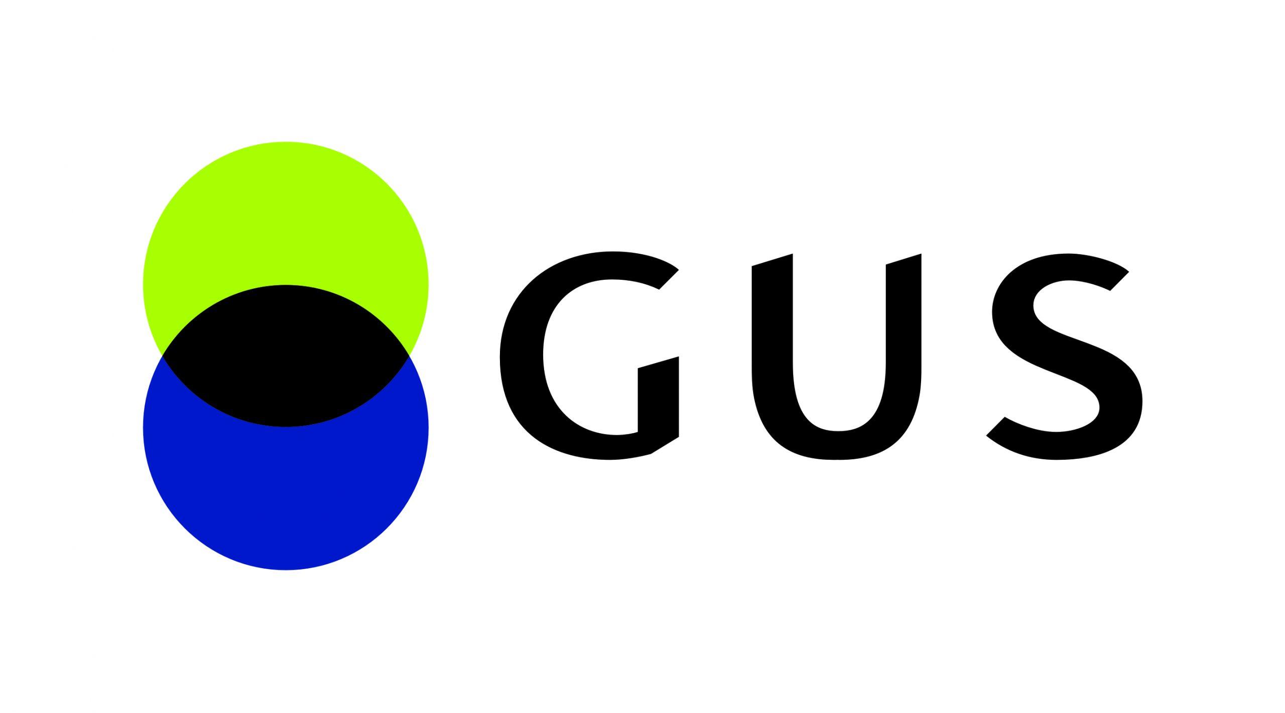 Po lewej stronie symbol graficzny: dwa koła nakładające się na siebie. Obok, po prawej stronie napis GUS, skrót od Głównego Urzędu Statystycznego