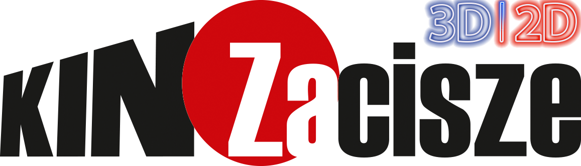 czarne i białe litery tworzące napis KINO ZACISZE, pomiędzy nimi koło w kolorze czerwonym, nad ostatnimi literami niebiesko-czerwony napis 2D 3D