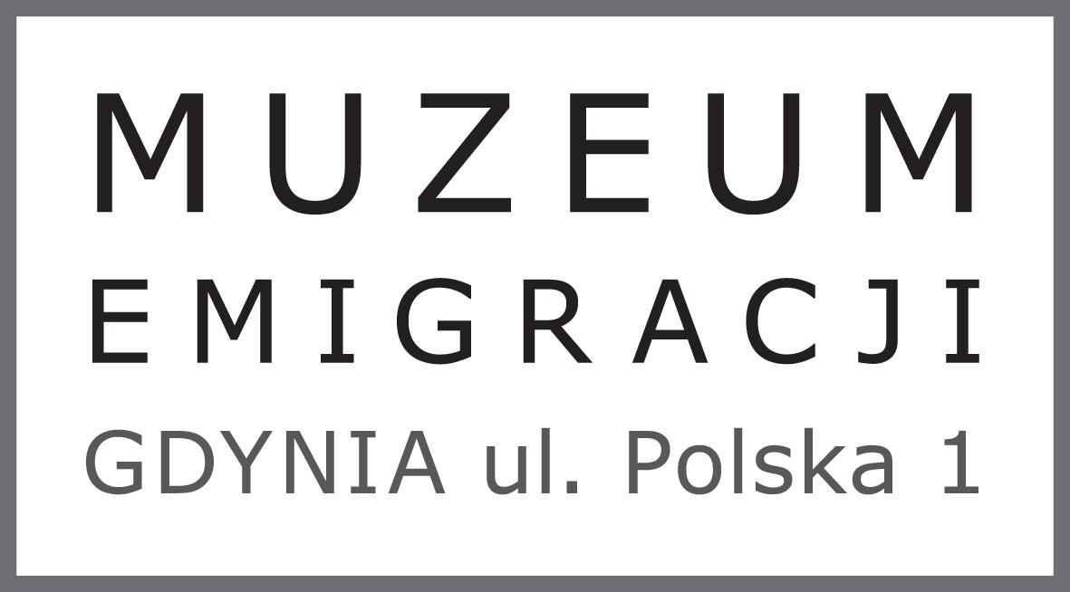Logo Muzeum Emigracji w Gdyni. Napis: Muzeum Emigracji, Gdynia, ul. Polska 1.