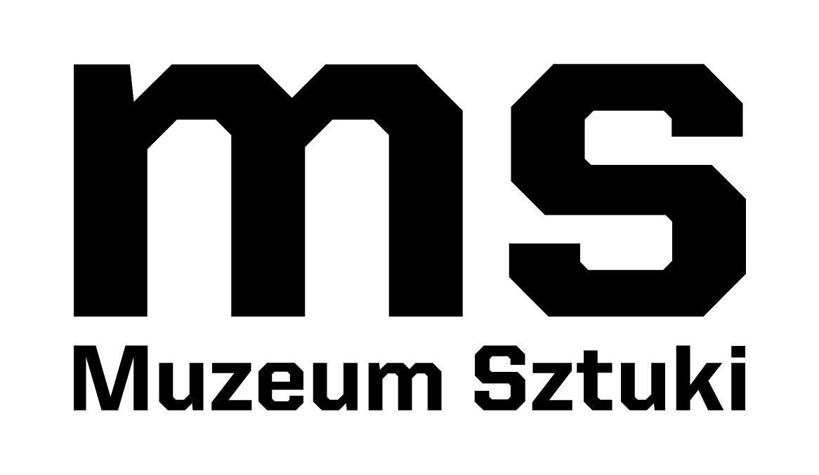 na białym tle na całą szerokość grafiki czarne litery m s, poniżej napis Muzeum Sztuki