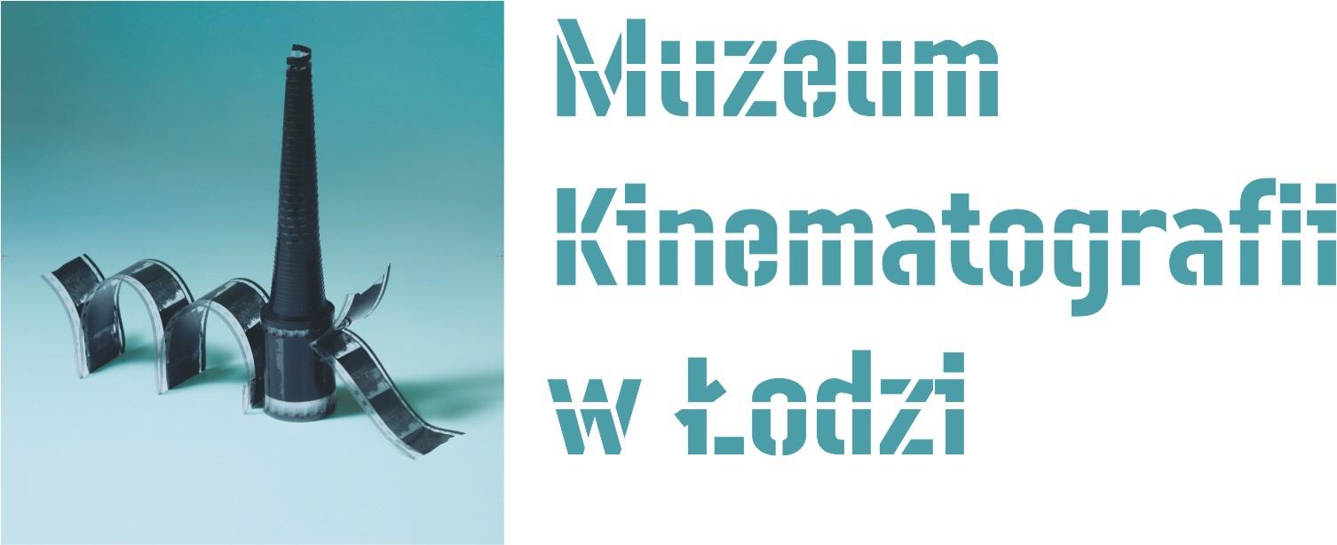 Logotyp z napisem Muzeum Kinematografii w Łodzi. Dodatkowo znak graficzny z inicjałami nazwy MK w formie kliszy filmowej.
