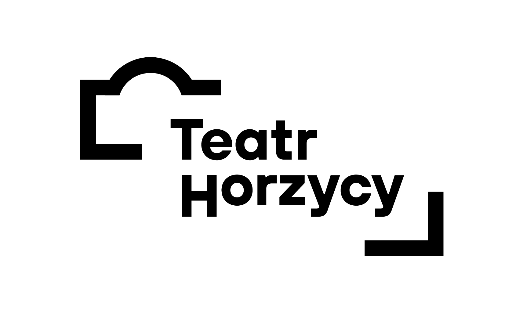 Napis Teatr Horzycy w środku grafiki przypominającej kształtem budynek teatru.