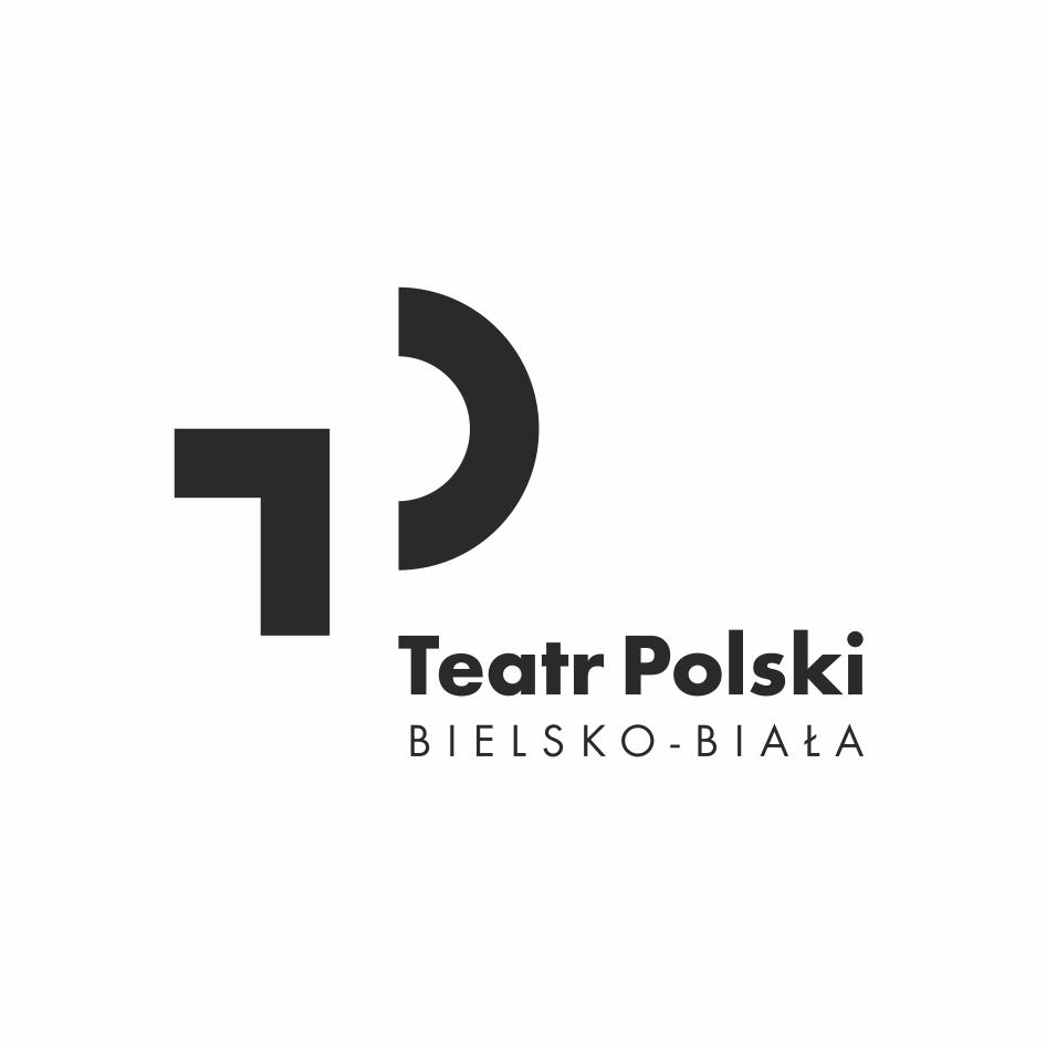 na białym tle czarne, duże litery TP. Poniżej napis: Teatr Polski Bielsko-Biała.