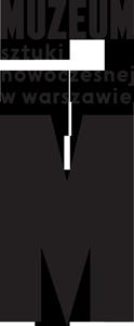 Logo Muzeum Sztuki Nowoczesnej w Warszawie. Nazwa muzeum, pod nią czarna litera M.