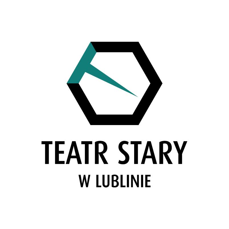 """Sześciokąt foremny z grubymi czarnymi bokami, z białym wypełnieniem, na białym tle. Jeden z boków, u góry po lewej jest turkusowy, z niego wychodzi do wewnątrz mocno wydłużony trójkąt w tym samym kolorze,  turkusowe elementy tworzą kształt litery """"T""""; pod spodem napisy:"""